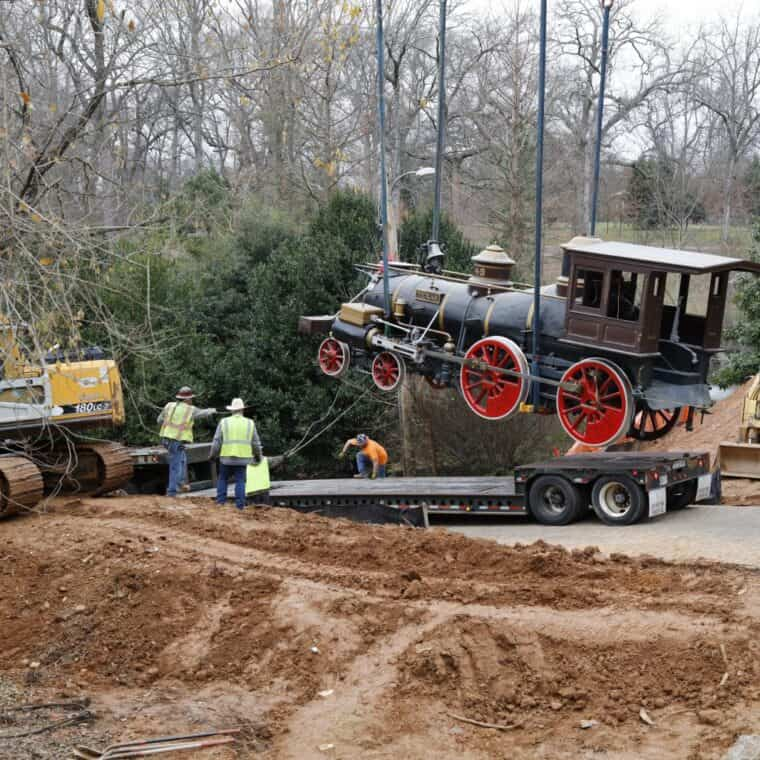 the texas locomotive being lifted