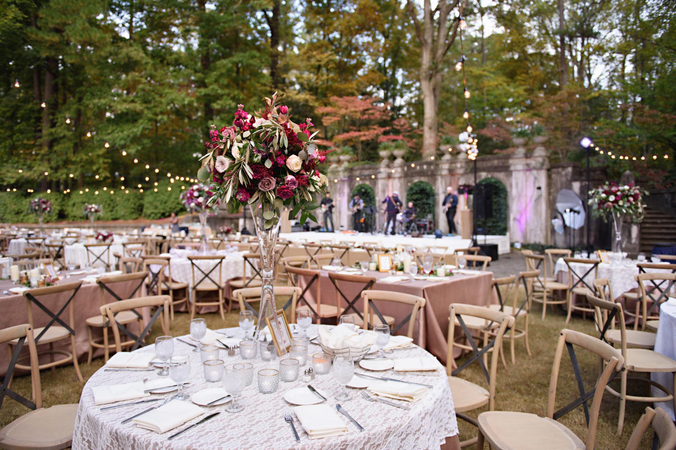 wedding set up at Swan House Gardens