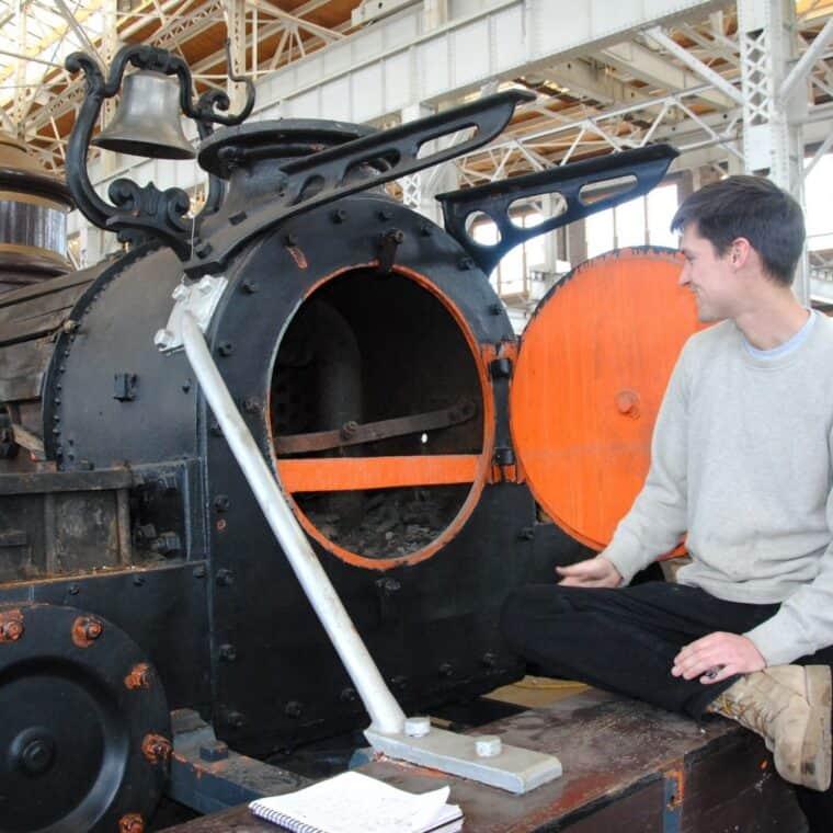 Max sigler examines the locomotive smoke box