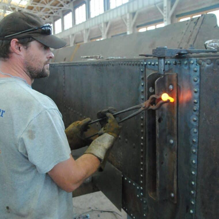 Nathaniel Watts, working on the texas locomotive