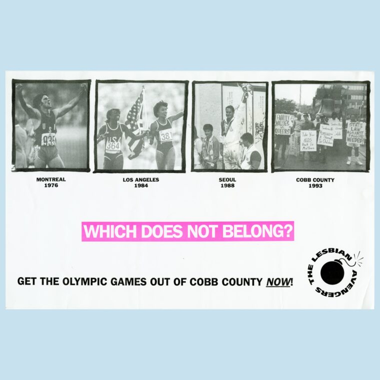 Poster of four women in sports with a headline that says Who Does Not Belong? Get the Olympic Games out of Cobb County Now!