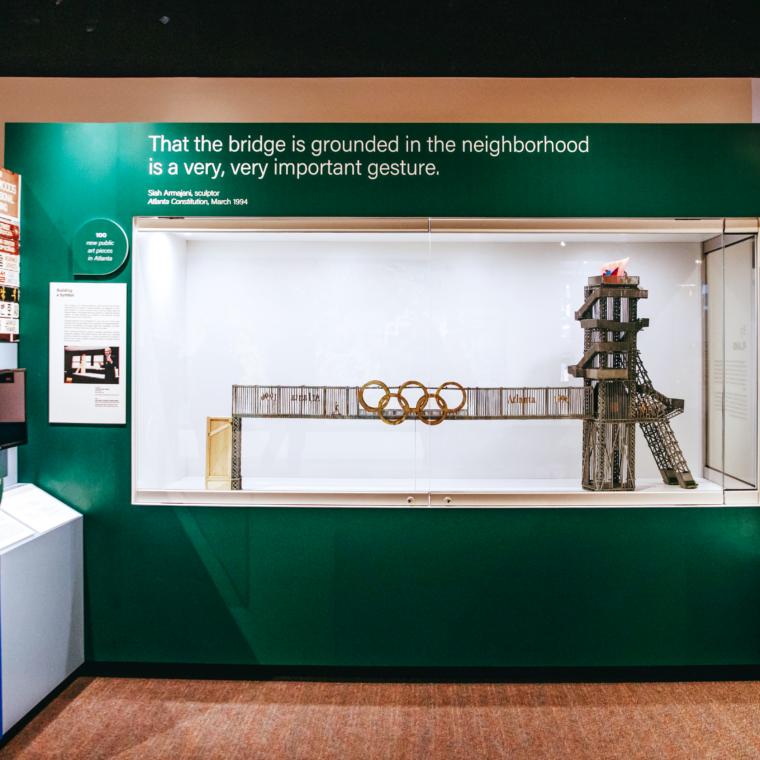 Model rendering of Olympic cauldron in exhibit space