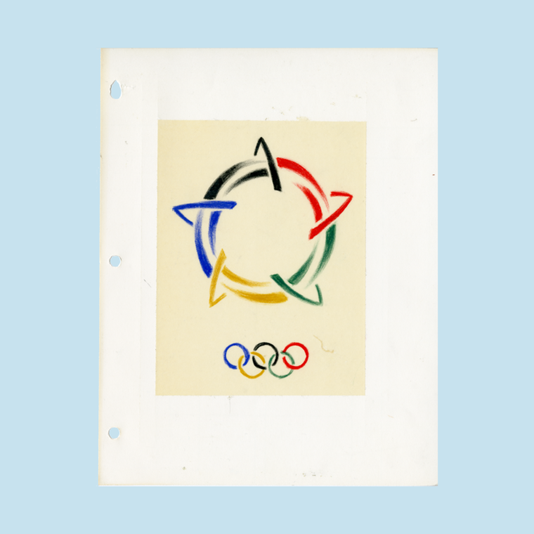 Sketch of Olympic logo with black, red, green, yellow, and blue arrows and rings on white paper on blue background