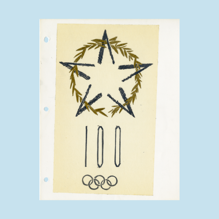 Sketch of Olympic logo with blue star, gold wreath above the number 100 and Olympic rings on white paper on blue background