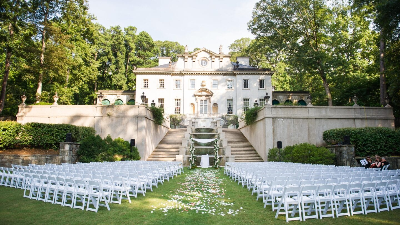 Smith Wedding chair setup at Swanhouse