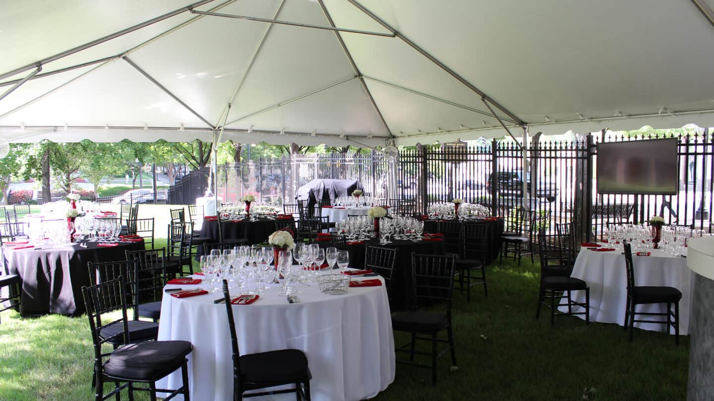 tables and chairs for event set up outside Margaret Mitchell House