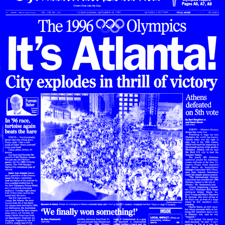 Its' atlanta, headline for Atlanta Journal