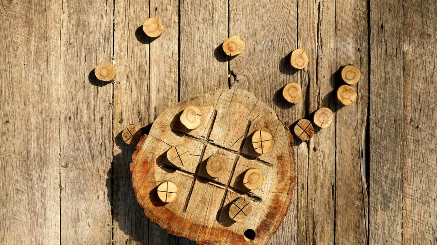 tic tac toe board and pieces made of wood