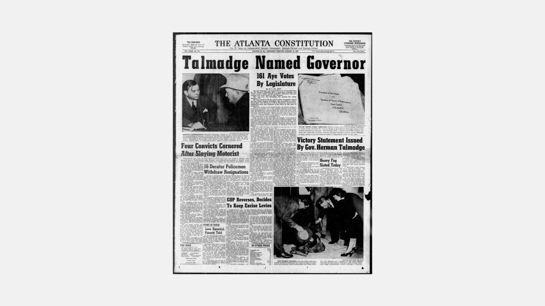 atlanta Constitution headline , Talmadge named Governor