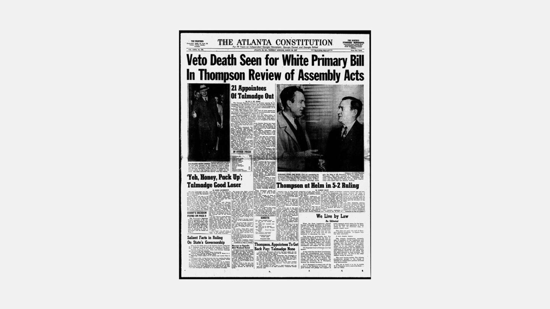 three governors newspaper screenshot, atlanta Constitution headline
