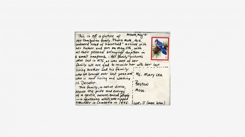 refugee postcard back, letter with stamp