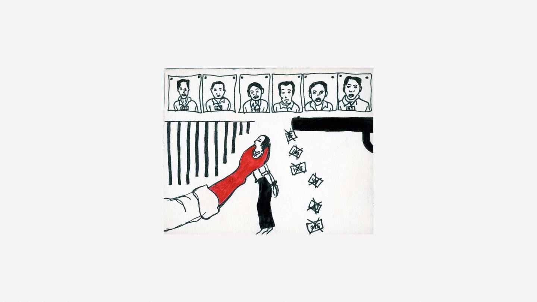 refugee postcard showing headshots, and gun