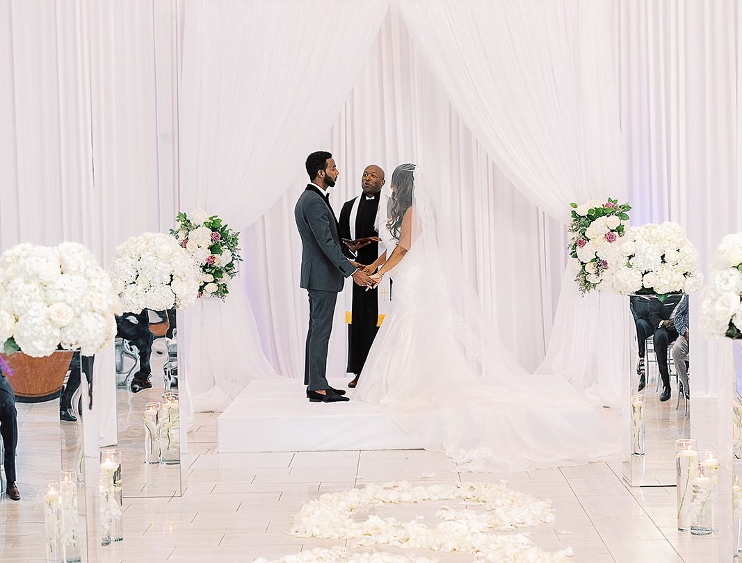 indoor wedding ceremony setup of Kimyatta and RJ