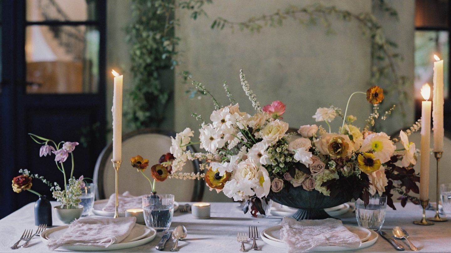 Styled table with flowers and candles